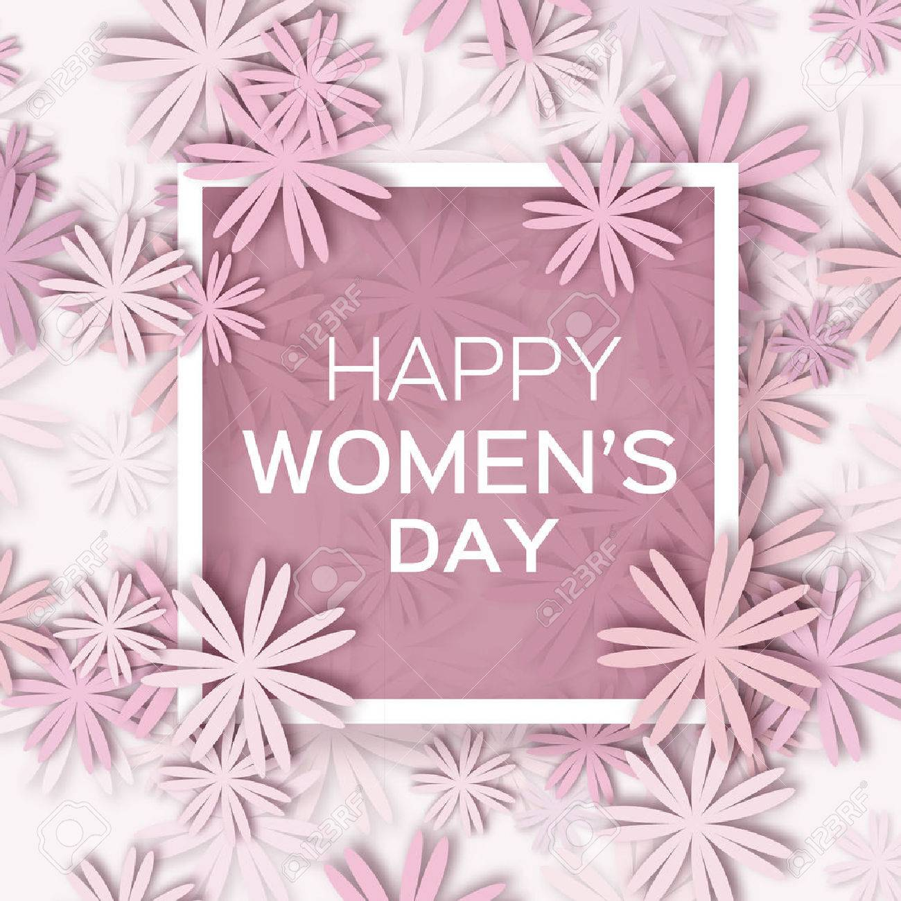Abstract Pastel Floral Greeting card - International Happy Women's Day - 8 March holiday background with paper cut Frame Flowers. Trendy Design Template. Vector illustration. - 52885874