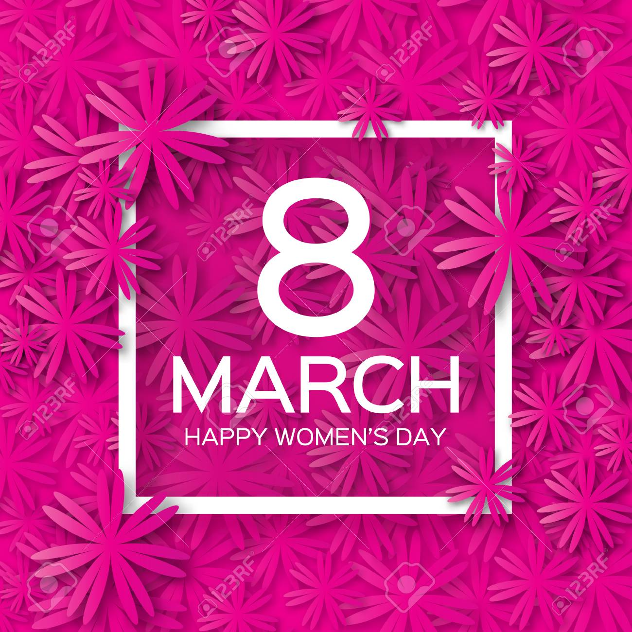 Abstract Pink Floral Greeting card - International Happy Women's Day - 8 March holiday background with paper cut Frame Flowers. Trendy Design Template. Vector illustration. - 52885956