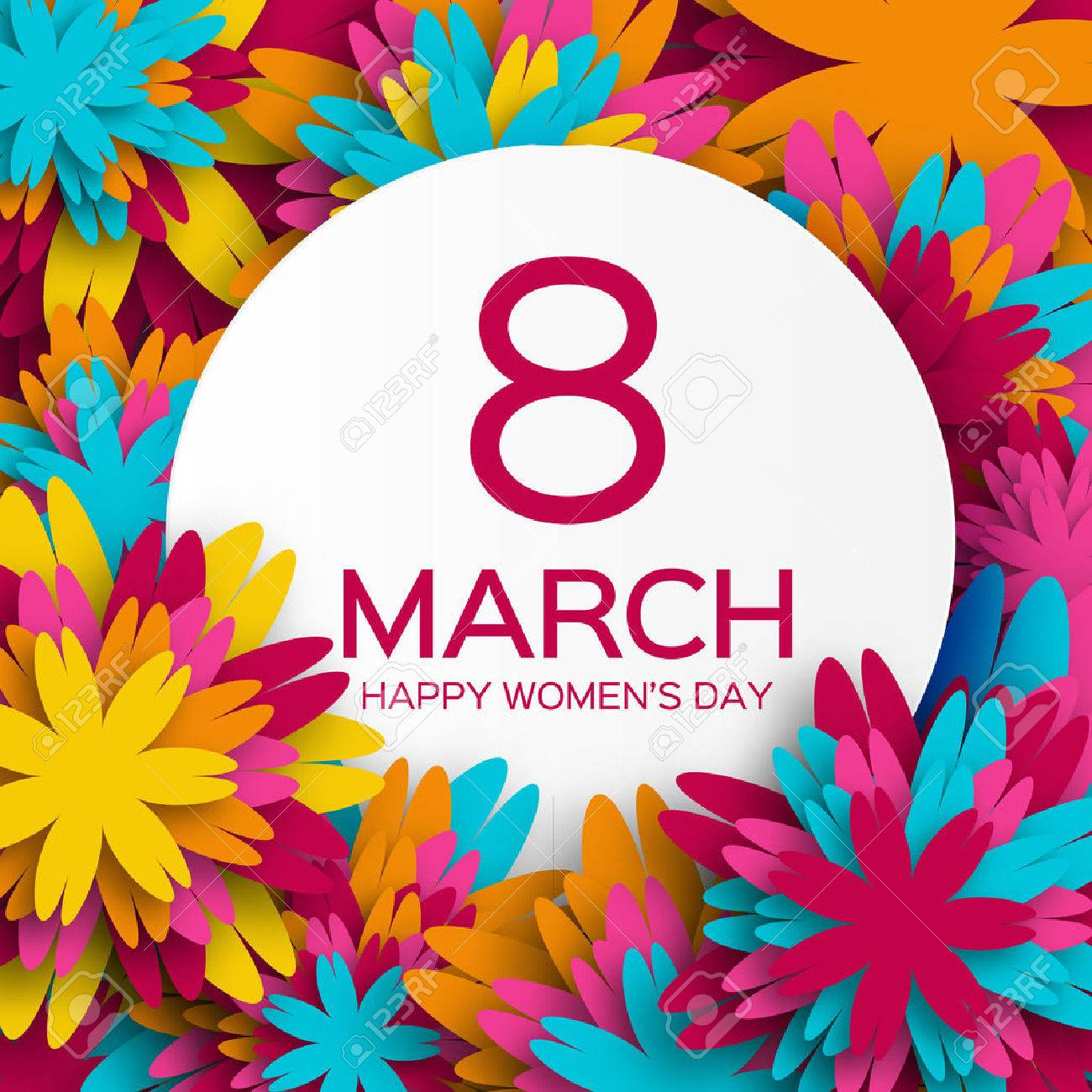 Abstract Colorful Floral Greeting card - International Happy Women's Day - 8 March holiday background with paper cut Frame Flowers. - 52890339