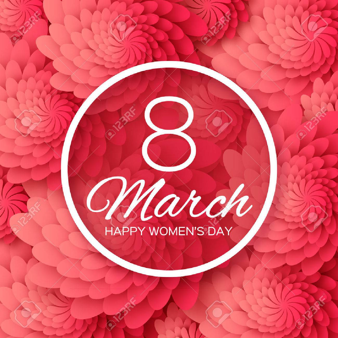 Abstract Red Floral Greeting card - International Happy Women's Day - 8 March holiday background with paper cut Frame Flowers. Happy Mother's Day. Happy GrandMother's Day. Trendy Design Template. Vector illustration. - 52891000