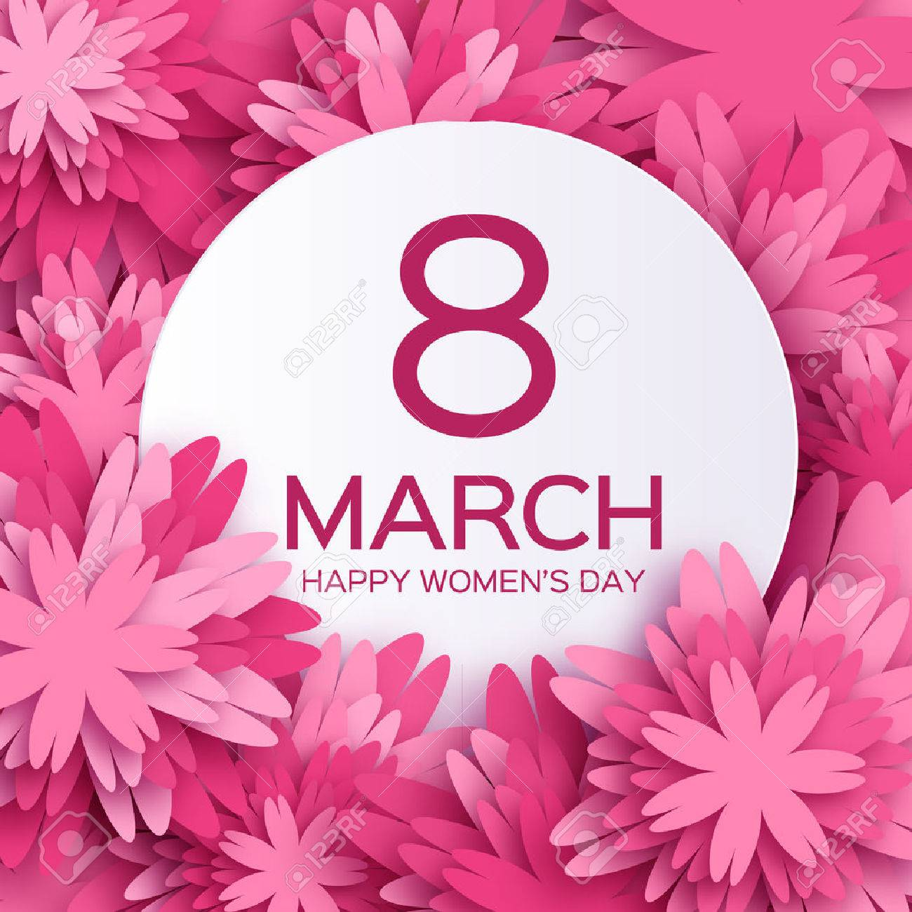 Abstract Pink Floral Greeting card - International Happy Women's Day - 8 March holiday background with paper cut Frame Flowers. - 52891245