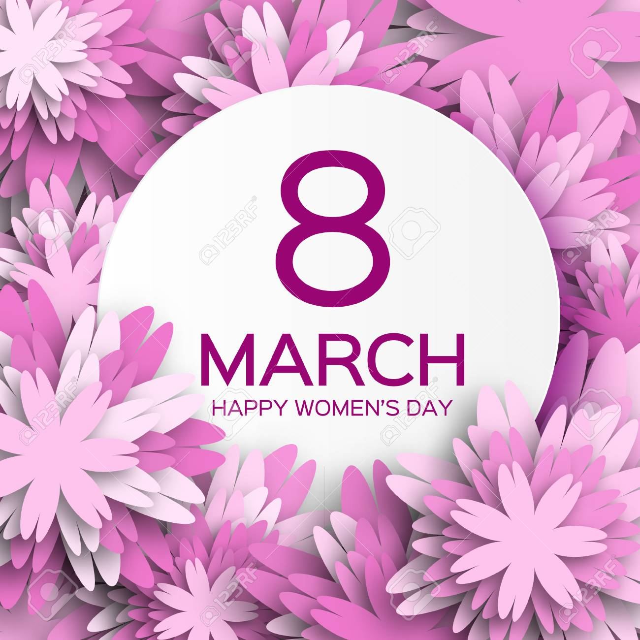 Abstract Purple Floral Greeting card - International Happy Women's Day - 8 March holiday background with paper cut Frame Flowers. - 52891181