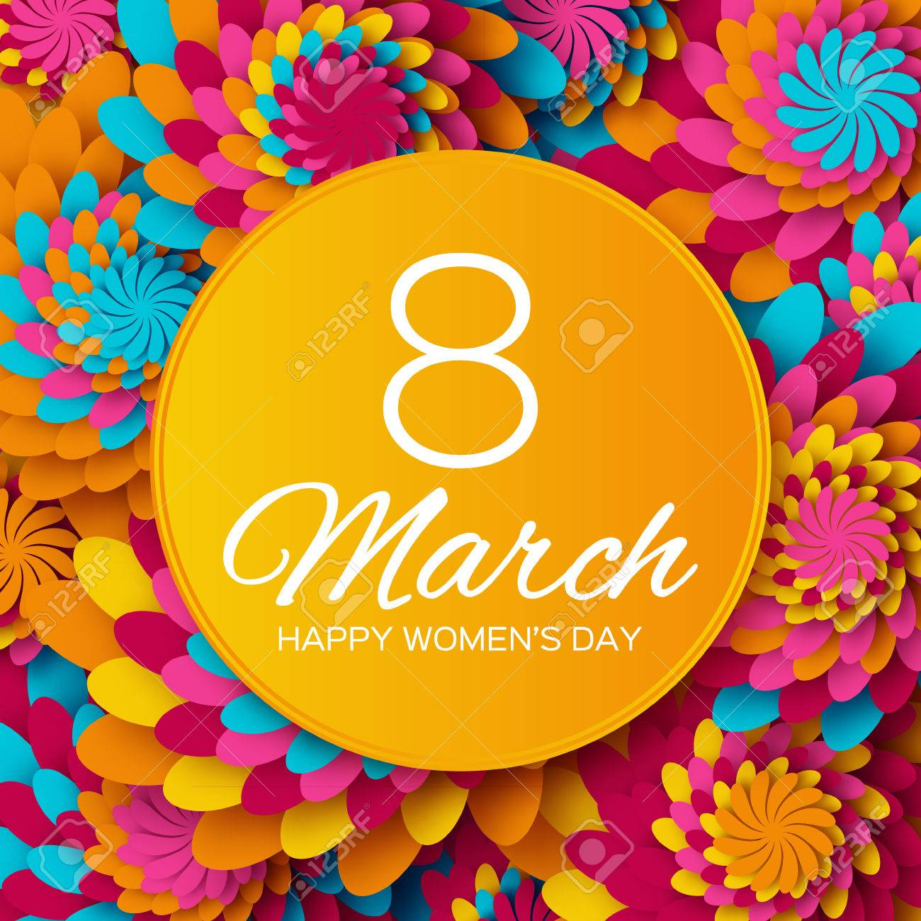 Abstract Colorful Floral Greeting card - International Happy Women's Day - 8 March holiday background with paper cut Frame Flowers. - 52891249