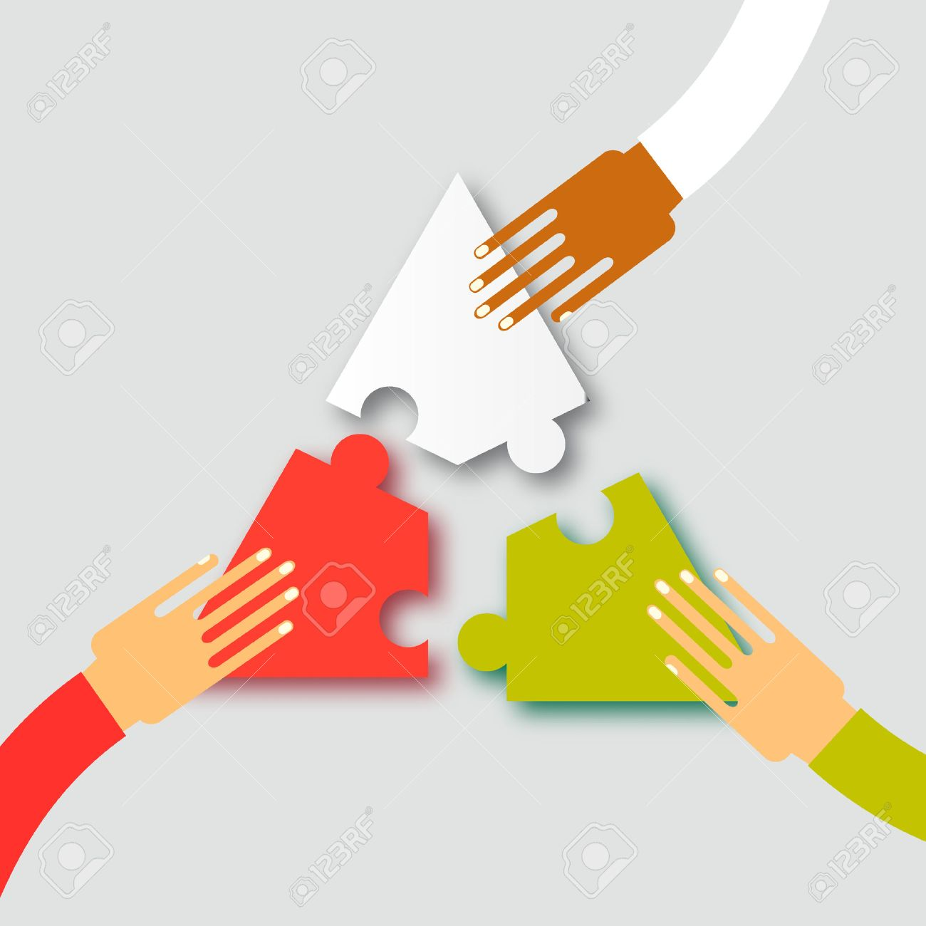Three hands together team work. Hands putting puzzle pieces. Teamwork and bussiness concept. Hands of different colors, cultural and ethnic diversity. Vector illustration - 53256749