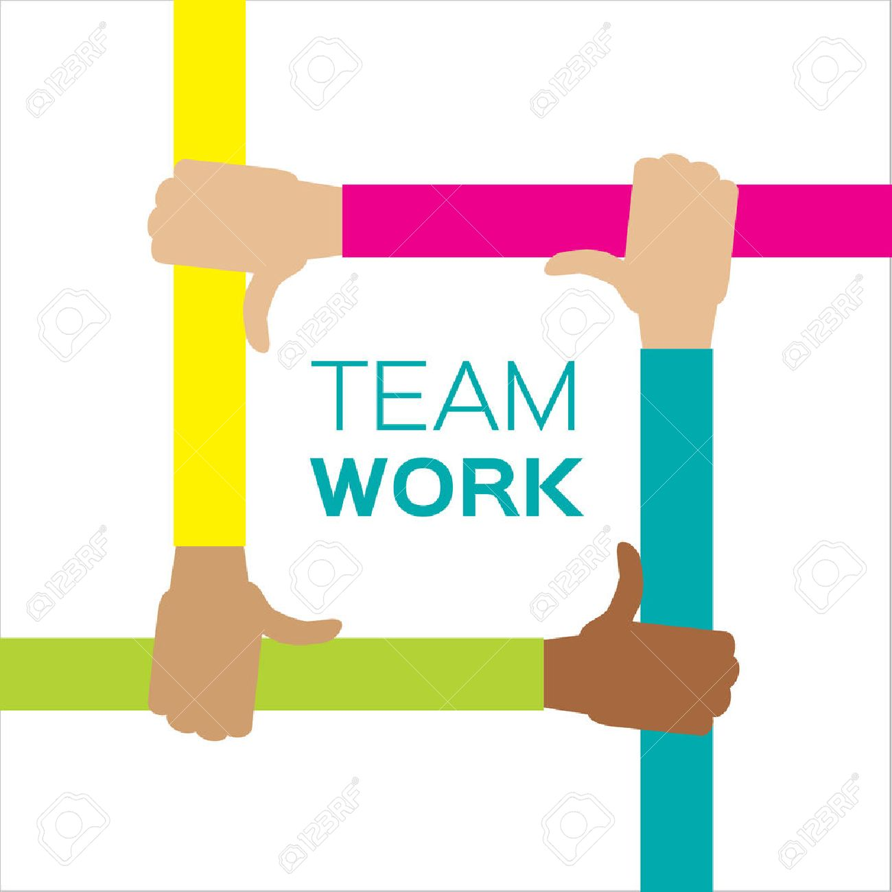 Four hands together team work. Hands of different colors, cultural and ethnic diversity. Vector illustration - 53256758