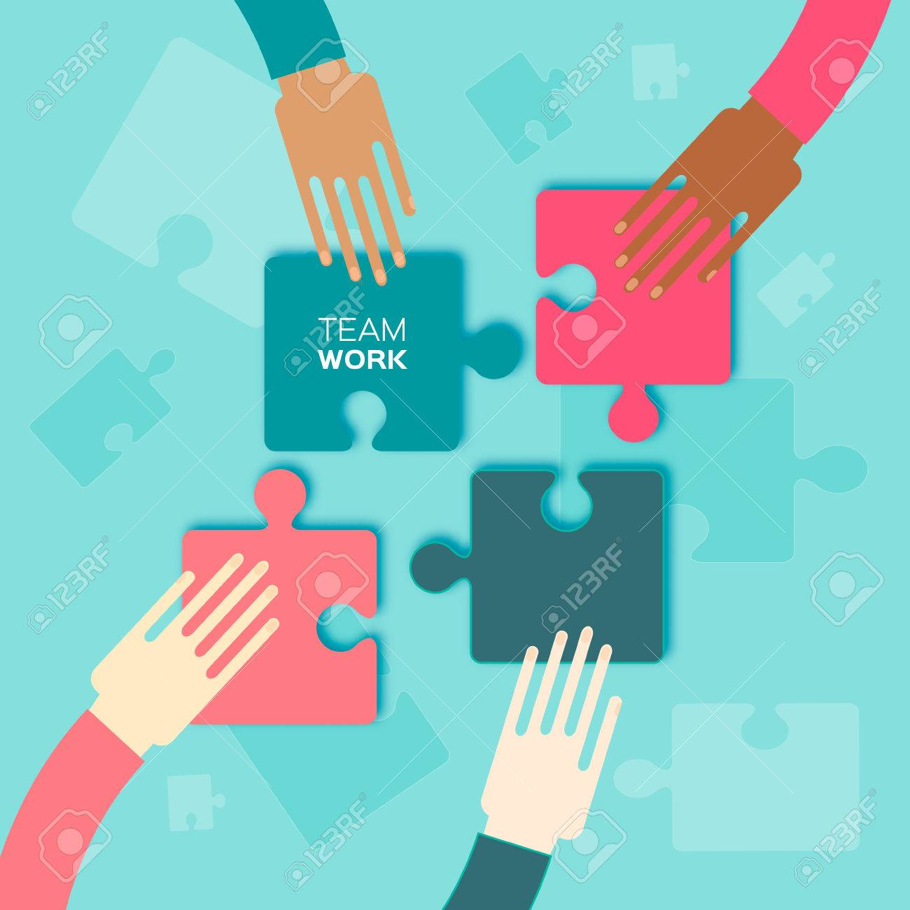 Four Hands Together Team Work Putting Puzzle Pieces Teamwork And Bussiness Concept