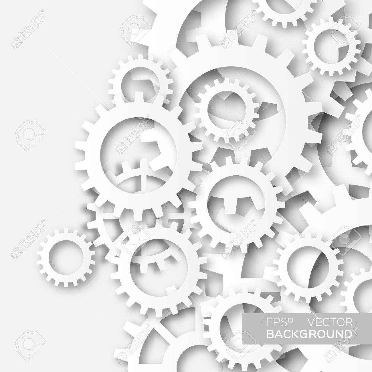 Mechanism system cogwheels. White gears. Origami paper cut style tech project. - 53256779
