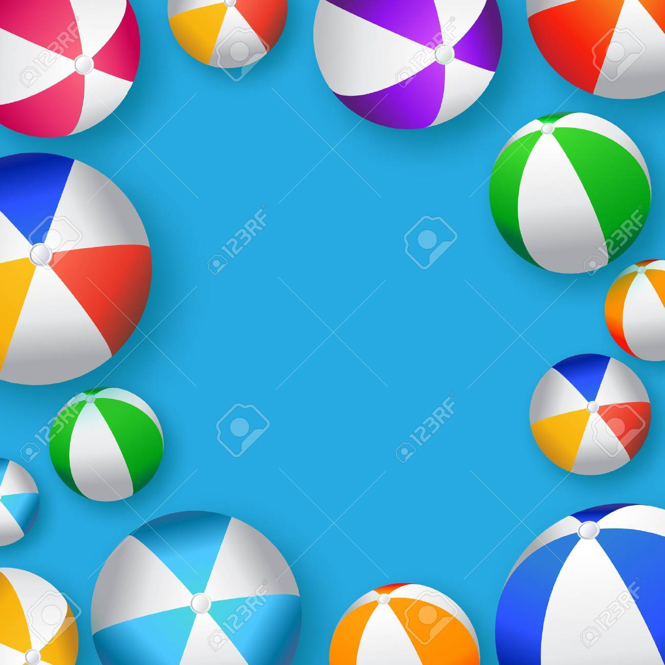 Realistic Colorful Beach Balls - Rubber or Plastic Material.Vector Illustration - 53342187