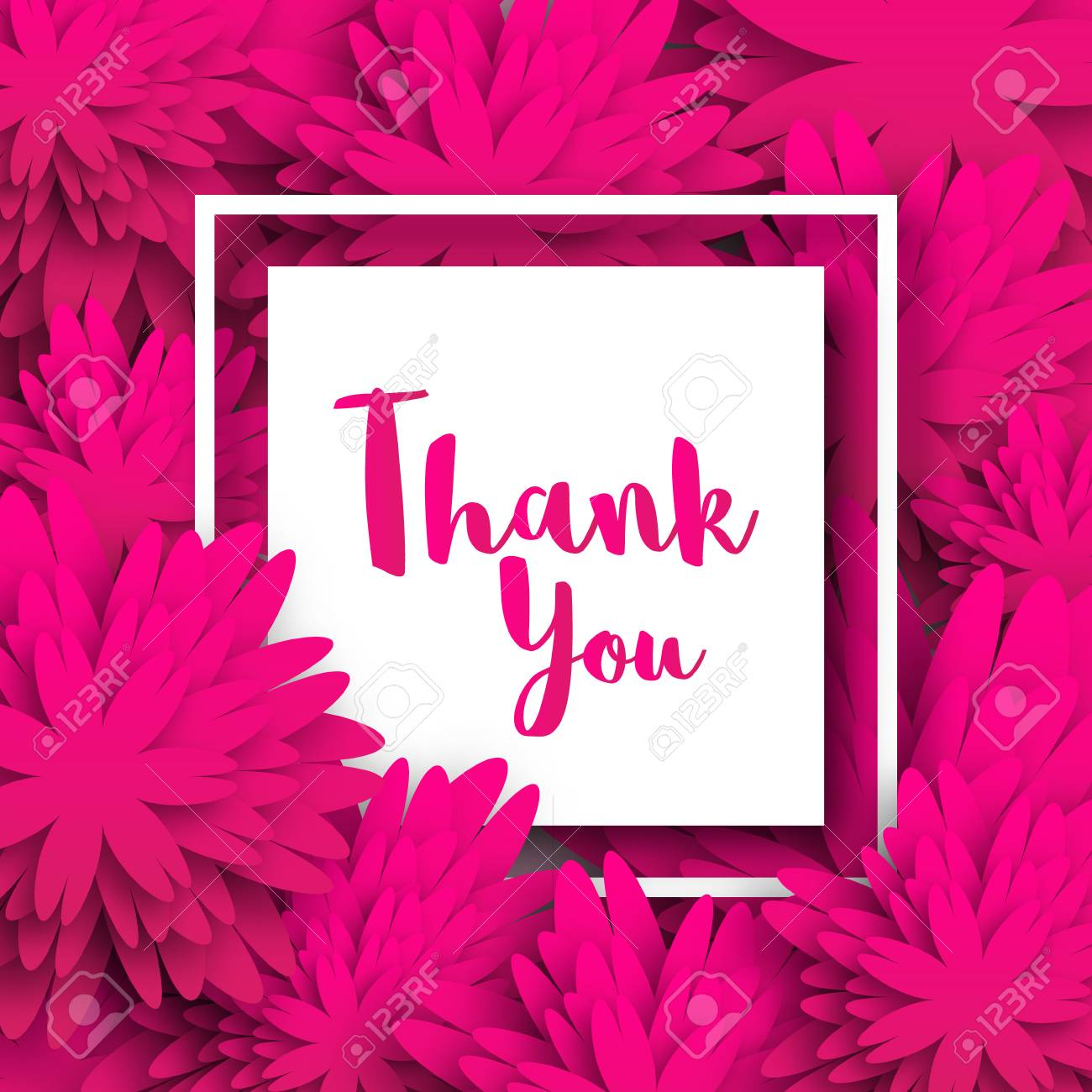 Thank You Spring Floral Card With Pink Origami Flowers Perfect