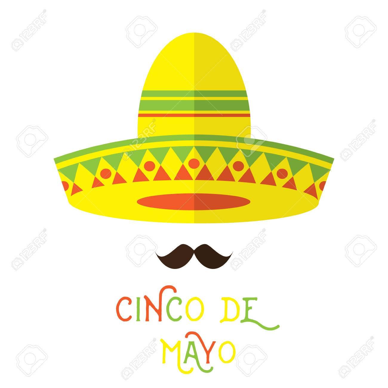 Foto de archivo - La cara mexicana abstracto con gran bigote y elemento de  diseño de estilo plano sombrero de dibujos animados sombrero. 4dab0e11763