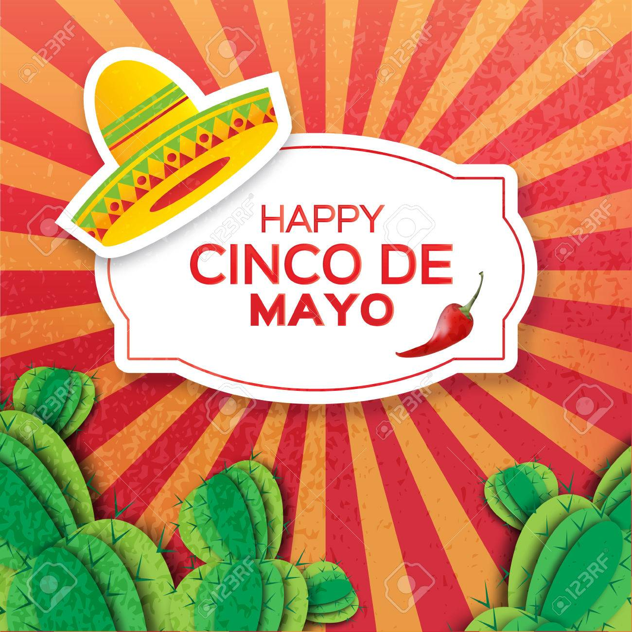 Mexican sombrero hat, succulents and red chili pepper jalapeno. Mexico, Carnival. Orange background with cactus. Vector illustration. - 55944099