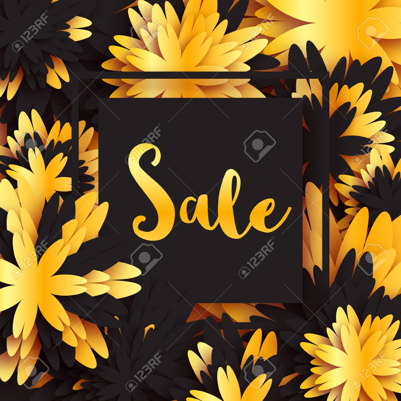 Golden foil spring summer sale banner with frame for business golden foil spring summer sale banner with frame for business applique card with origami flowers mightylinksfo
