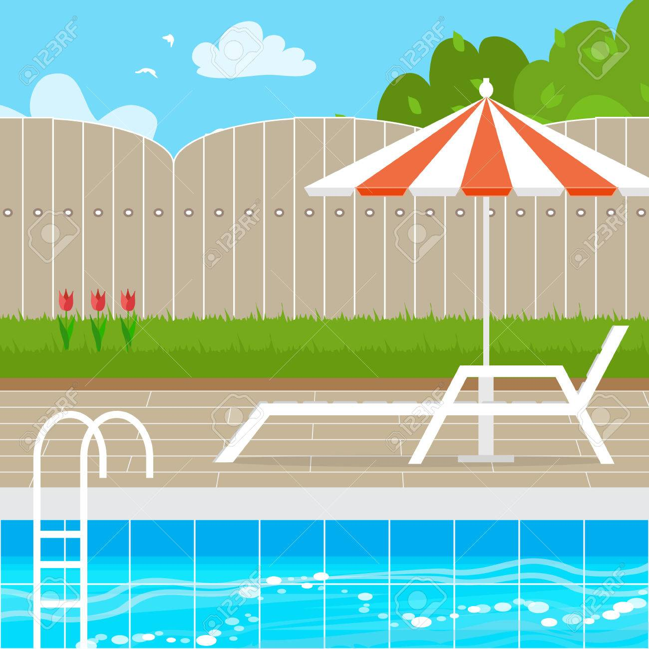 Chaise Lounge with Parasol umbrella near the Swimming pool. House..