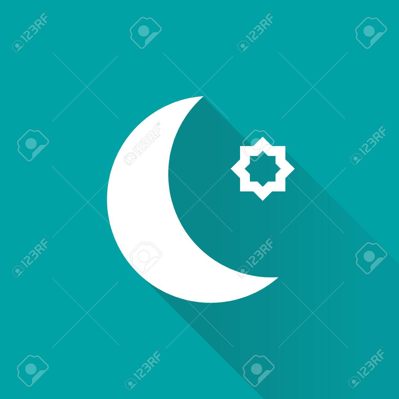 Stars And Crescent On Blue Background Symbol Of Islam Moon