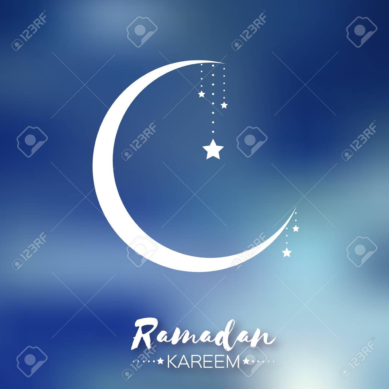 Blue Ramadan Kareem Celebration Greeting Card Stars And Crescent