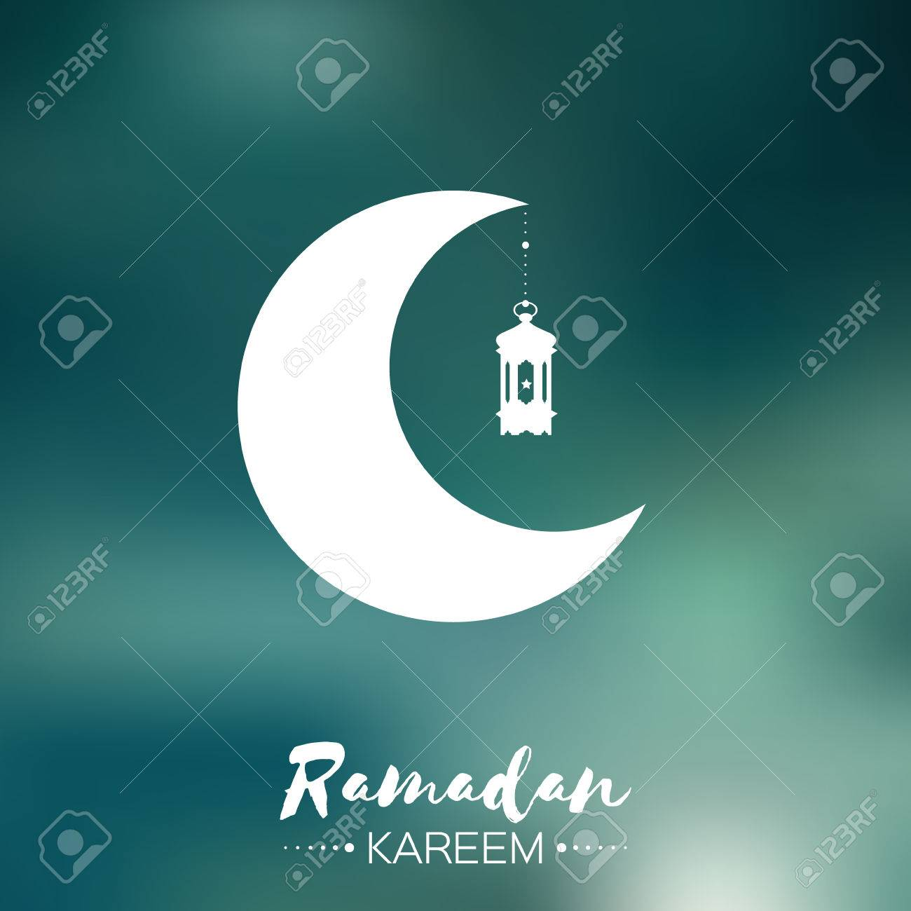 Ramadan Kareem Celebration Greeting Card Hanging Arabic Lamp