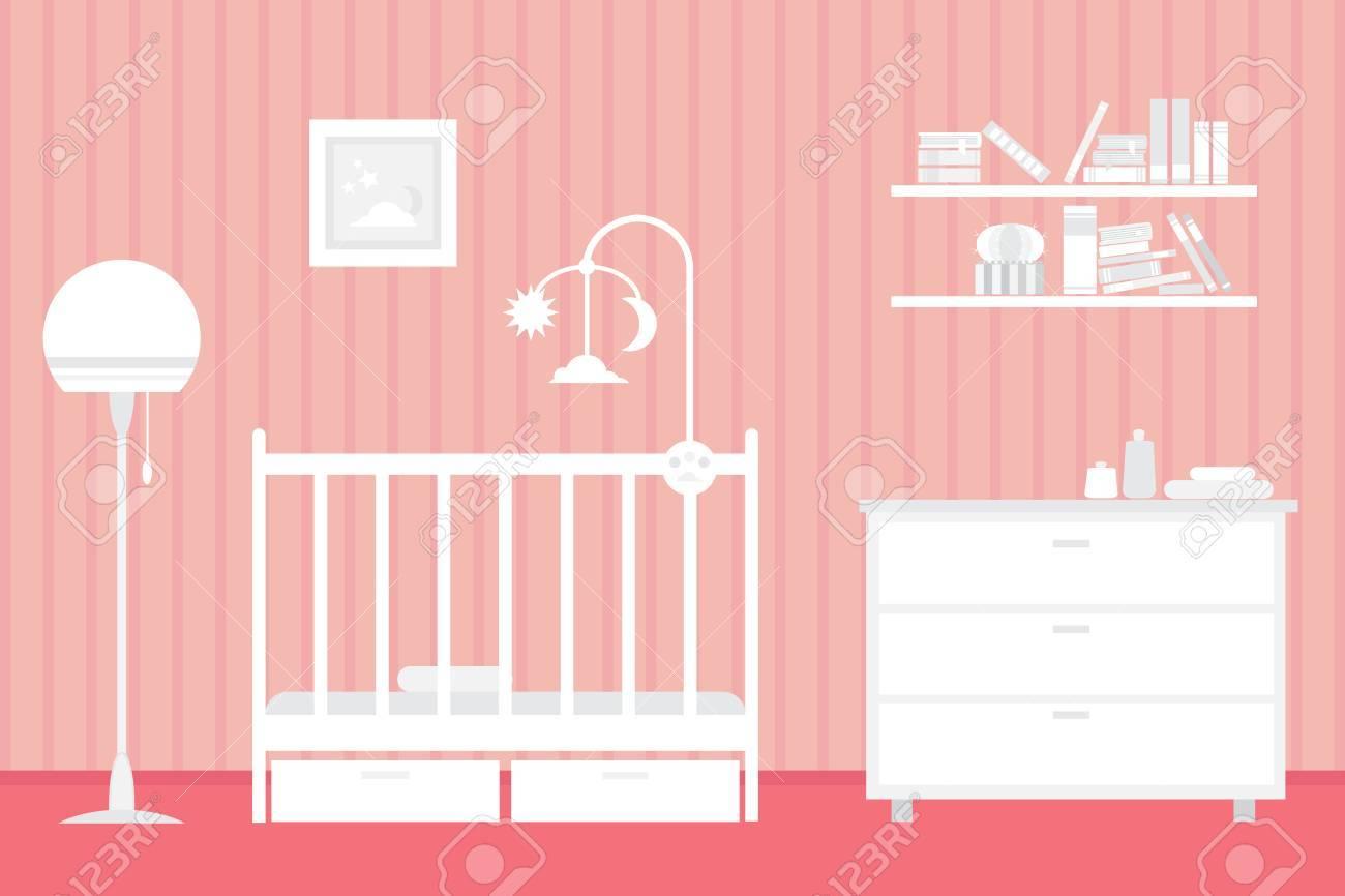 Sitio Del Bebé Con Muebles. Interior Del Cuarto De Niños. Estilo De ...