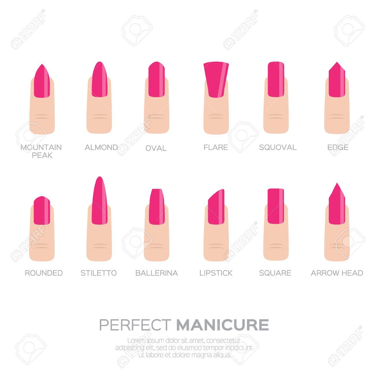 Diferentes Formas De Uñas De Color Rosa. Dedos De La Mujer. Uñas ...