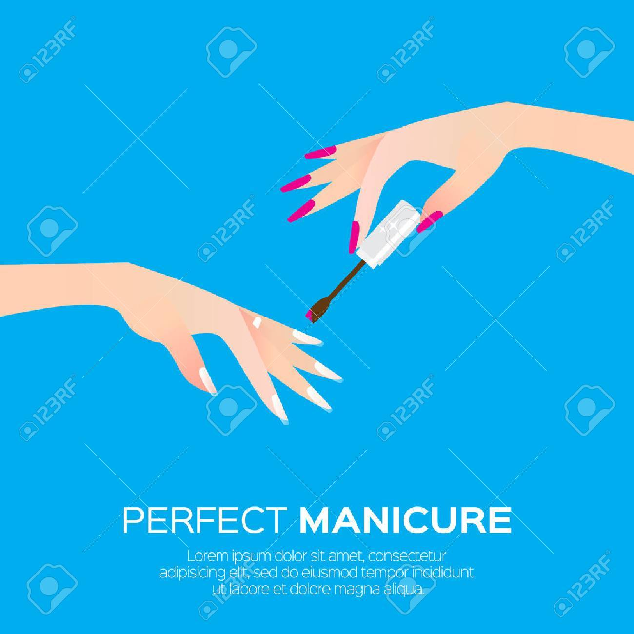 Nail art and elegant women's hand. Salon cosmetic concept. Beauty product. Nail health banner. Nail design polish, manicure tools. Vector illustration on blue background - 60221953