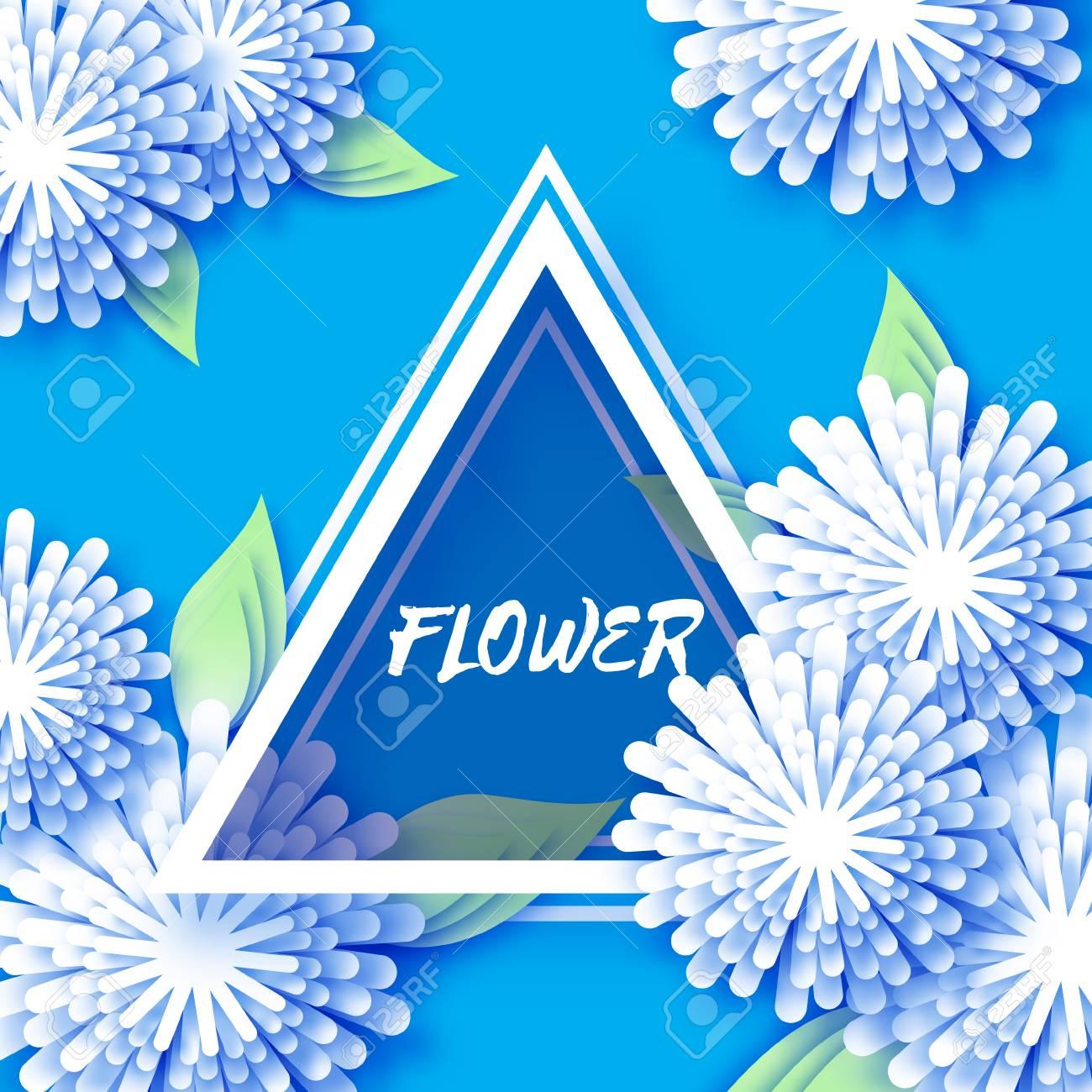 Weiß Blau Origami Blumen Grußkarte. Urlaub Auf Dem Hintergrund Mit ...