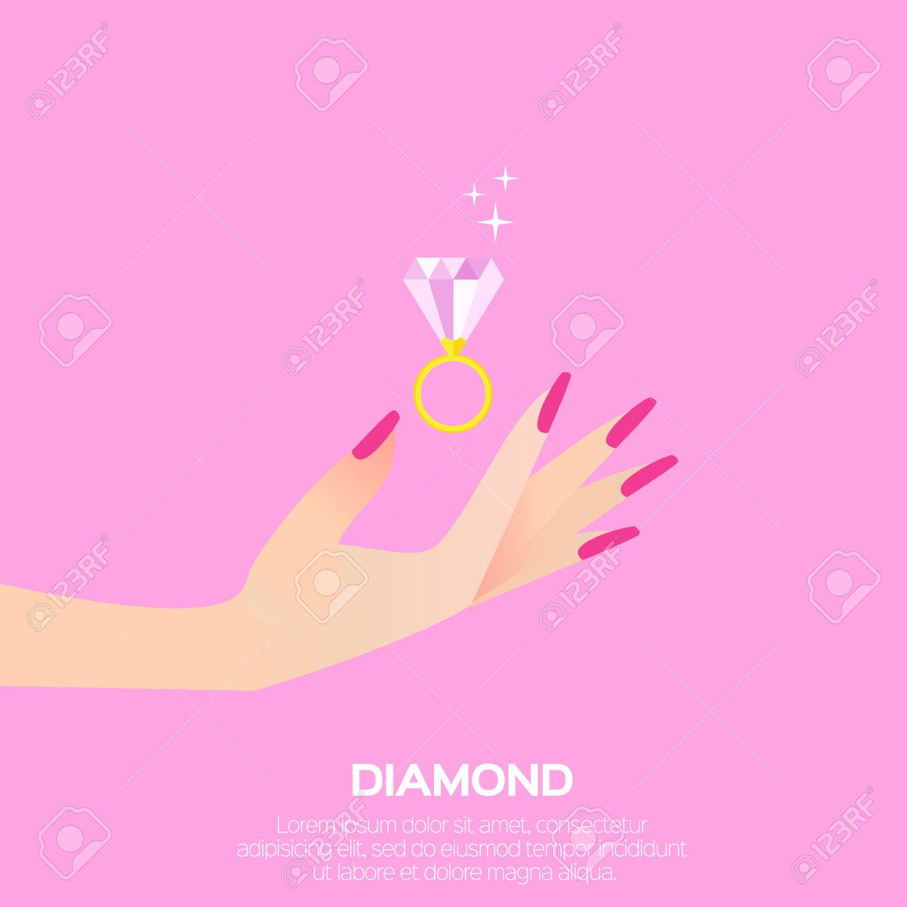 Big Shining Pink Diamond In Woman\'s Hand. Wedding Ring Concept ...