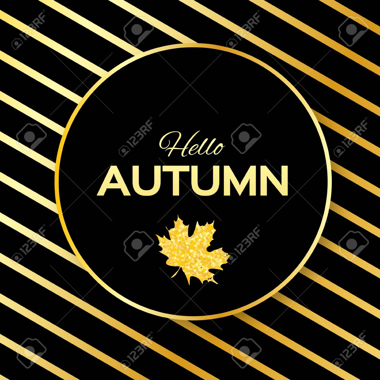 Hello Autumn. Greeting Card With Seasonal Maple Leaves. Fall Leaves Banner  With Golden Glitter