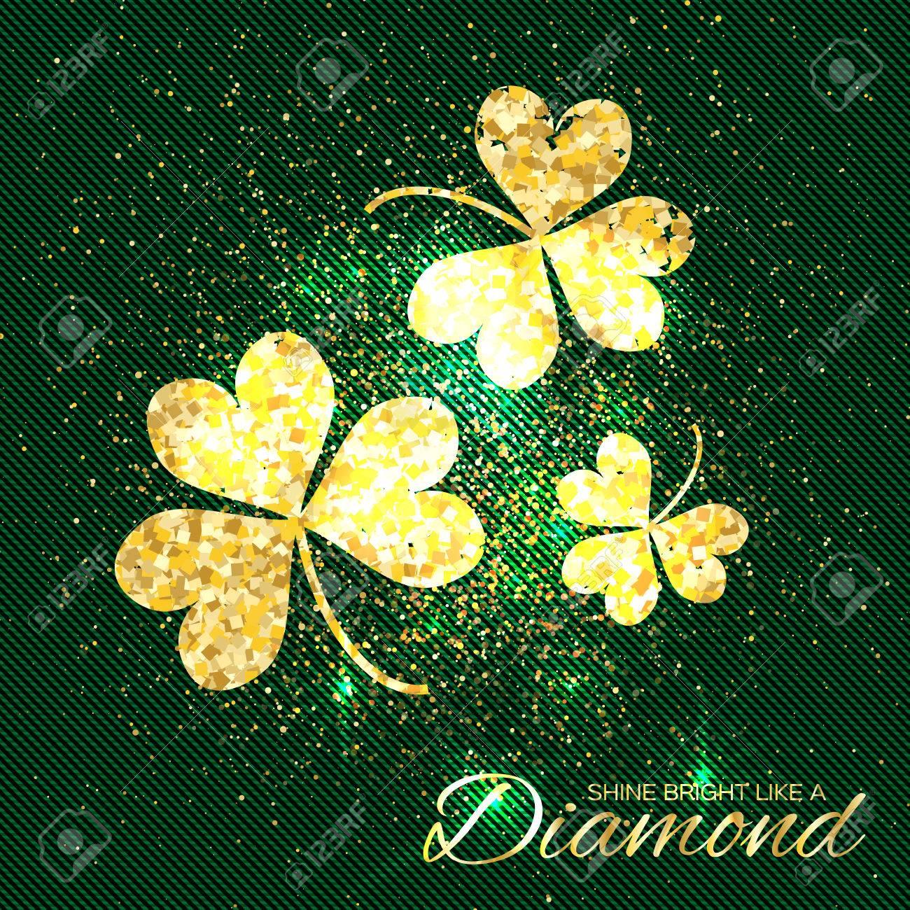 fc343a316868 El Oro Brilla El Trébol En El Fondo Verde. Tres Brillante Flor Glamour  Purpurina. Tarjeta De Felicitación Con Textura De Oro Trébol De Tres Hojas.