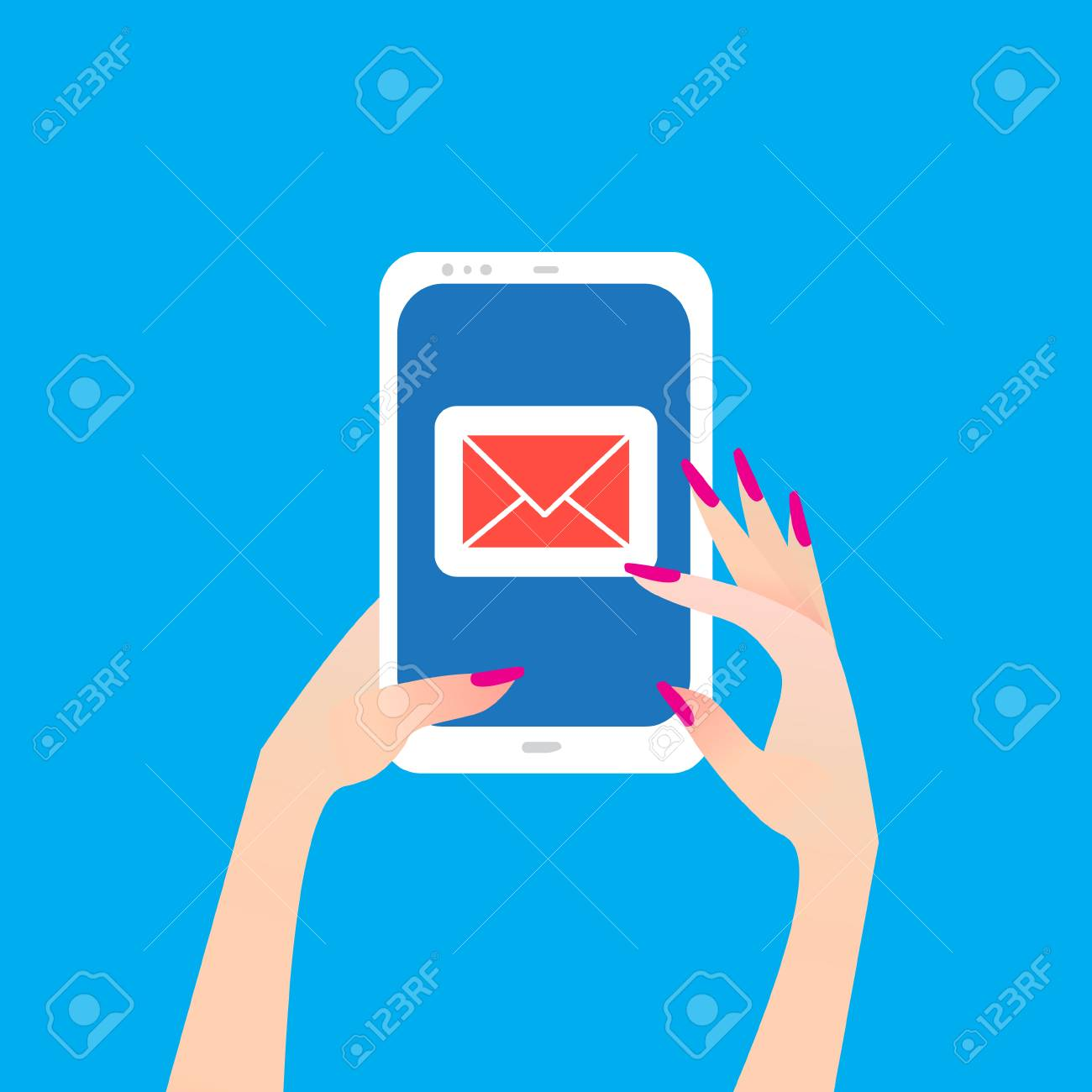 Womens Hand Holding Smart Phone With Email Symbol On The Screen