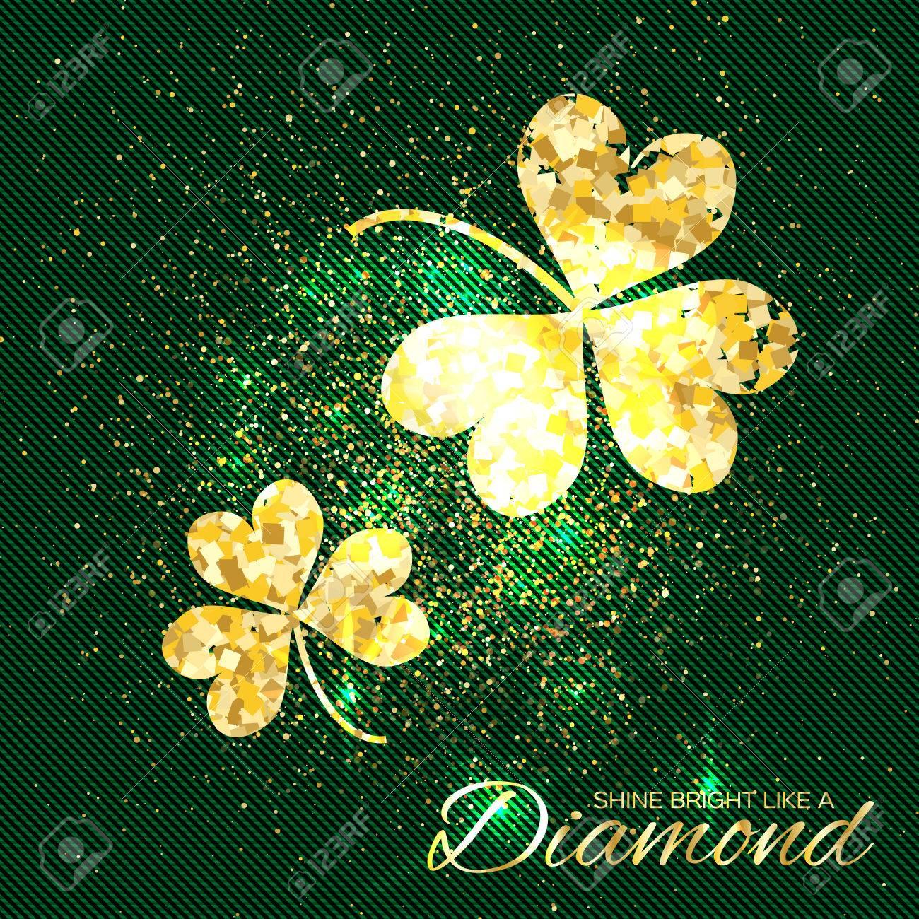 e021c42b1913 El Oro Brilla El Trébol En El Fondo Verde. Dos Brillante Flor Glamour  Purpurina. Tarjeta De Felicitación Con Textura De Oro Trébol De Tres Hojas.