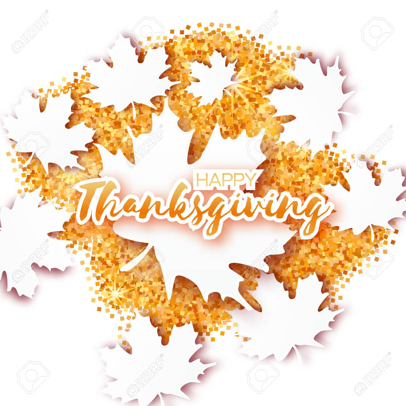 Happy thanksgiving day greeting card with origami beautiful happy thanksgiving day greeting card with origami beautiful autumn white maple leaves on gold glitter background m4hsunfo