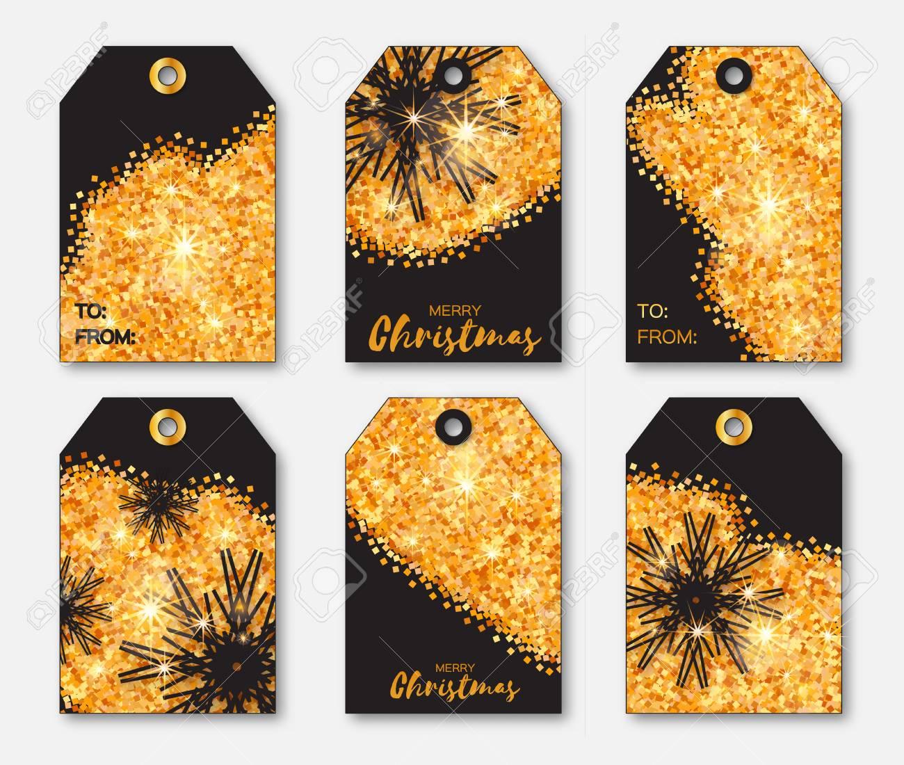 Festliche Sammlung Von Gold-Glitter Textur Weihnachten Etiketten ...