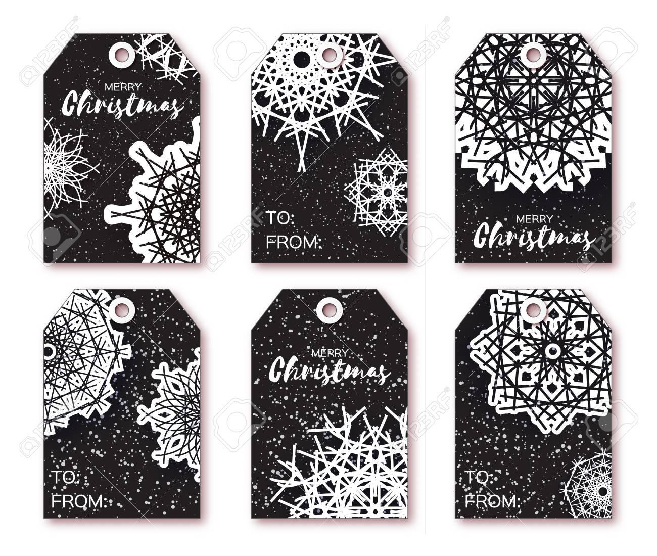 Black Christmas-Etiketten Mit Origami Weiße Schneeflocke. Ready-to ...
