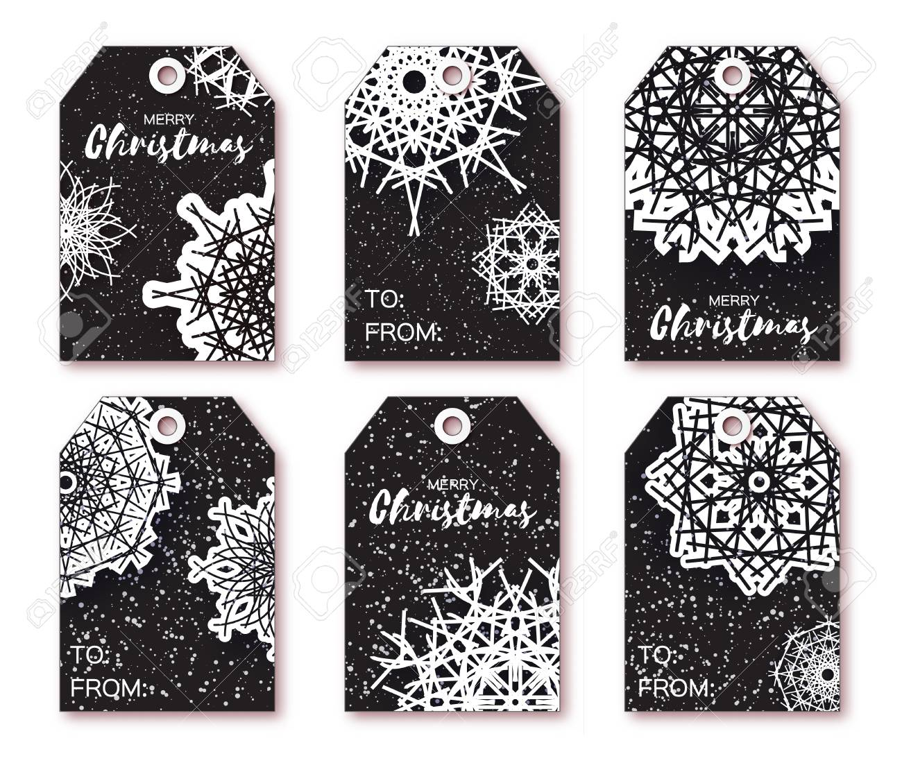 black christmas labels with origami white snowflake ready to use gift tags