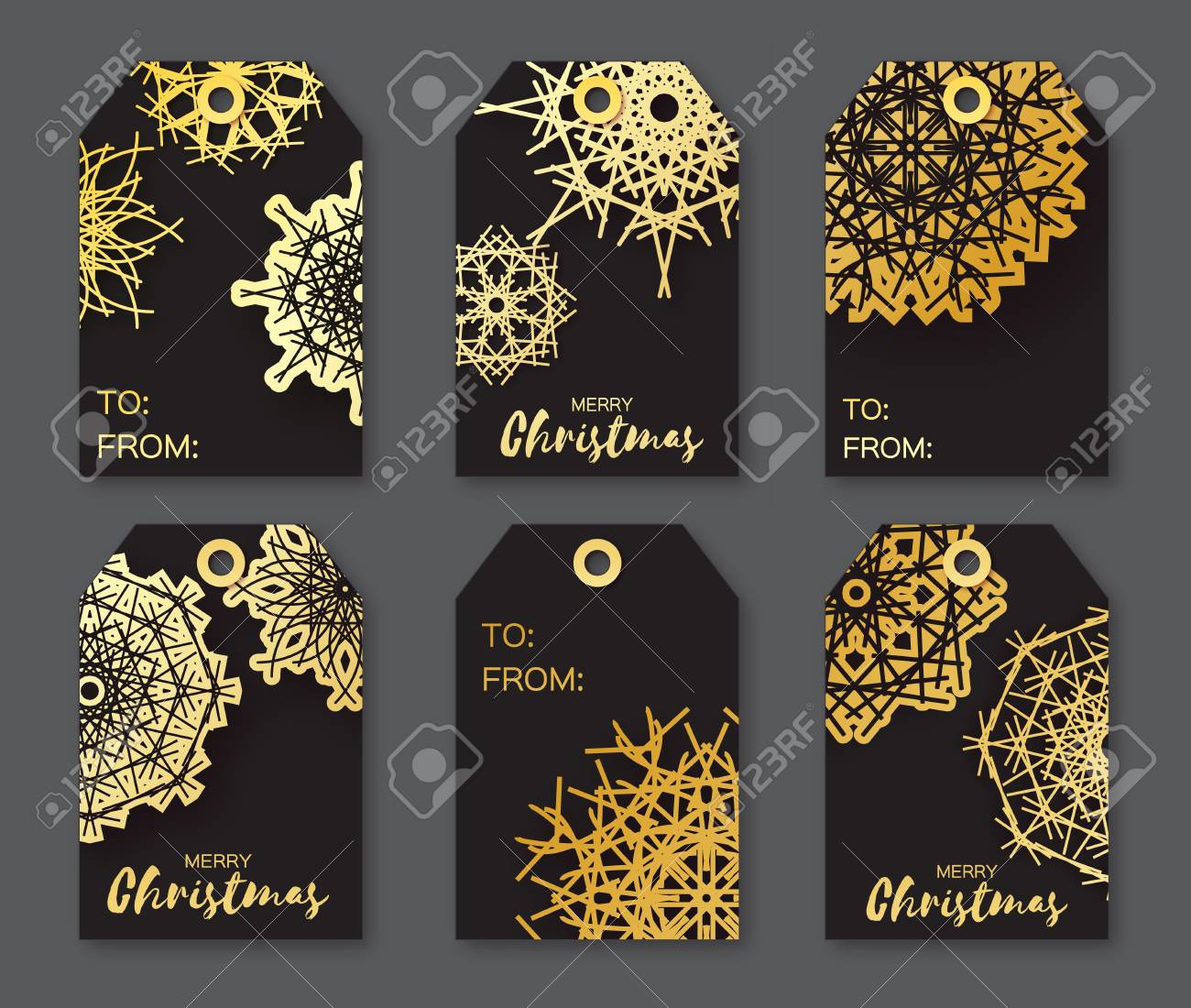 golden foil christmas labels festive collection of black background ready to use