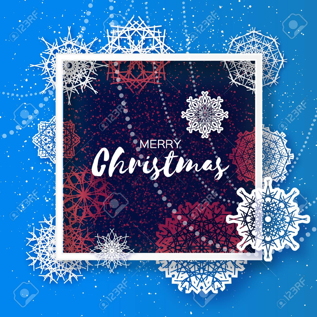 Merry Christmas Greeting Card Origami Snowflake On Blue Background