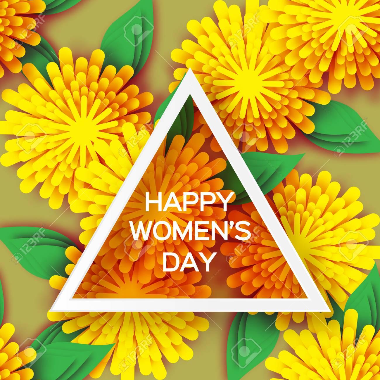 Floral Grußkarte Hintergrund Mit Bunten Papierschnittblumen, Origami ...