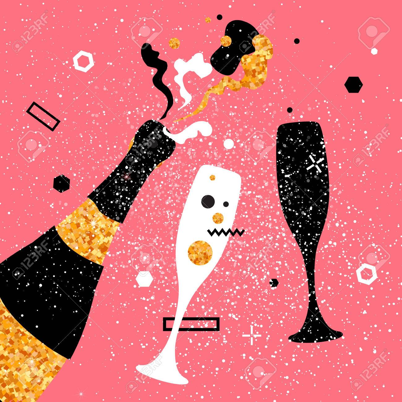Champagne flutes and bottle with golden glitter elements on pink background. Cheers - Clinking glass silhouette. Cheerful holiday. Alcoholic beverages. Concept party celebration. Vector Illustration. - 68404222