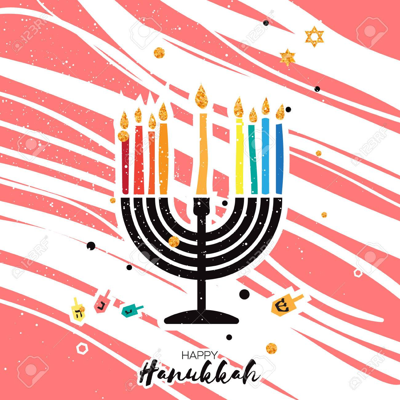 Cute happy hanukkah greeting card jewish holiday with menorah cute happy hanukkah greeting card jewish holiday with menorah traditional candelabra candles and m4hsunfo