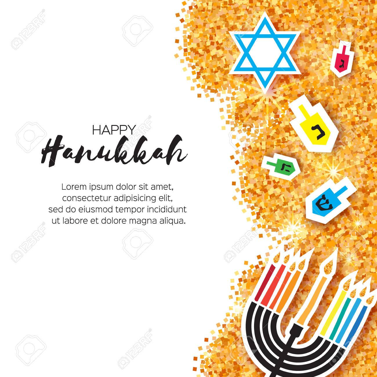 Colorful Origami Happy Hanukkah Greeting card on white background with space for text. Jewish holiday with menorah - traditional Candelabra,candles and dreidels - spinning top. Vector illustration - 66658807