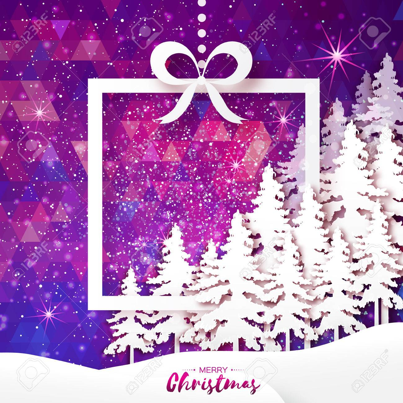 White Origami Merry Christmas Greeting Card With Cutout Paper