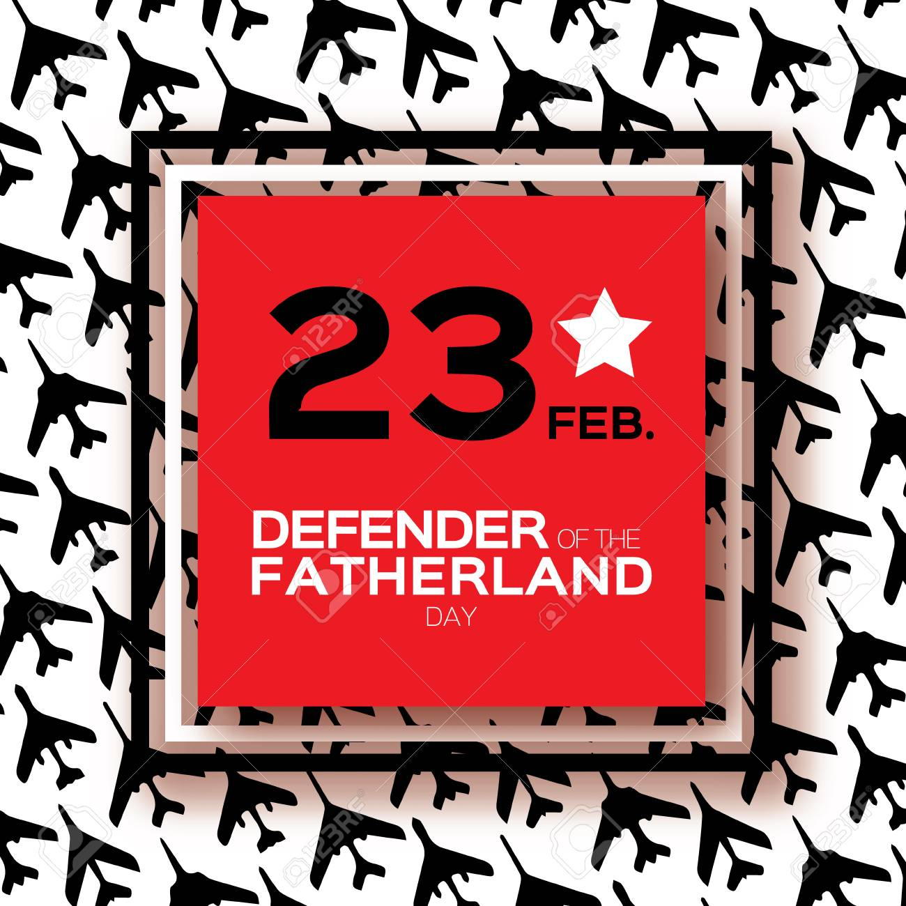 Happy Defender Of The Fatherland Day 23 February Greeting Card