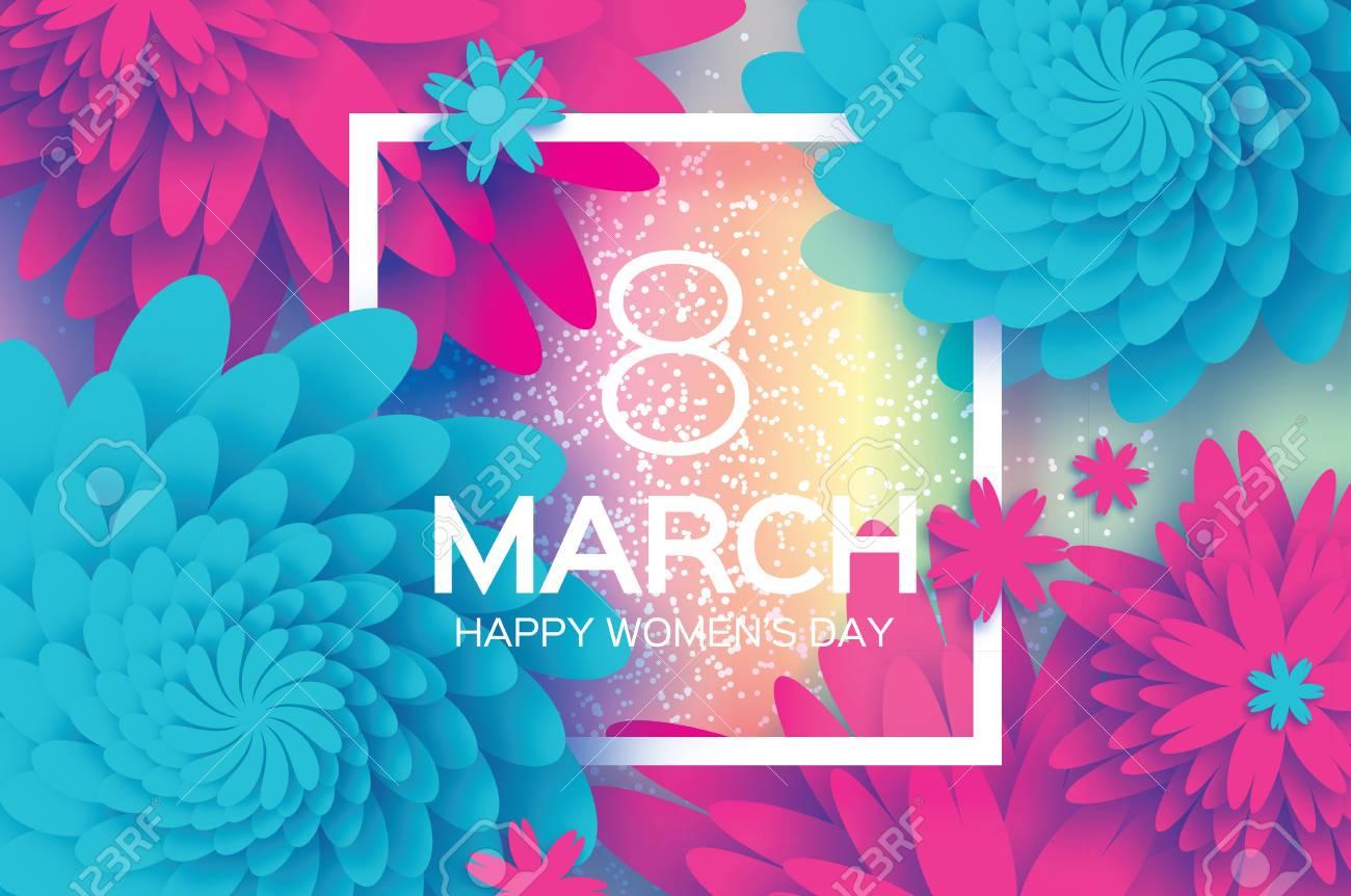 Muttertag . Rosa Blaue Papierblume . 8. März . Quadratischer Rahmen ...