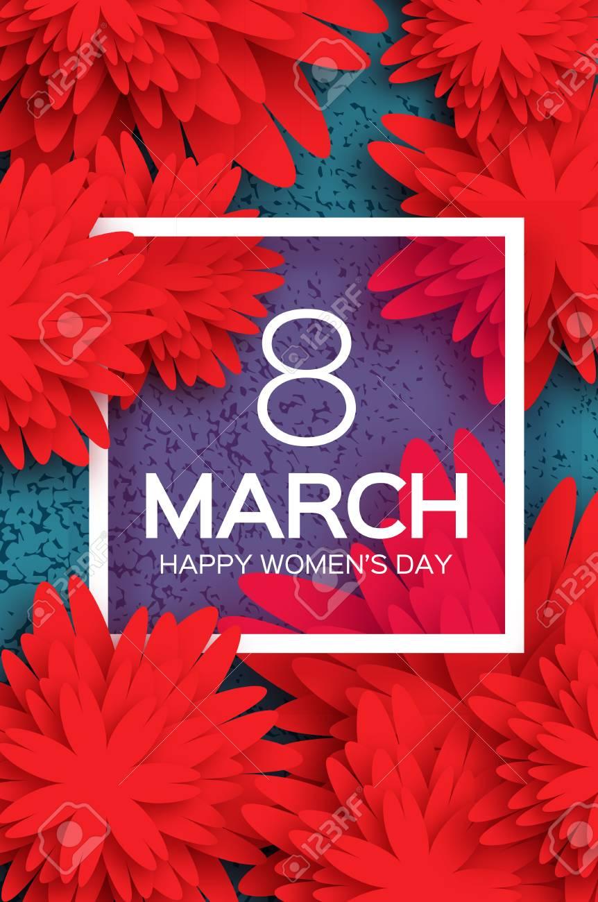Muttertag . Rote Papierblume . 8. März . Quadratischer Rahmen ...
