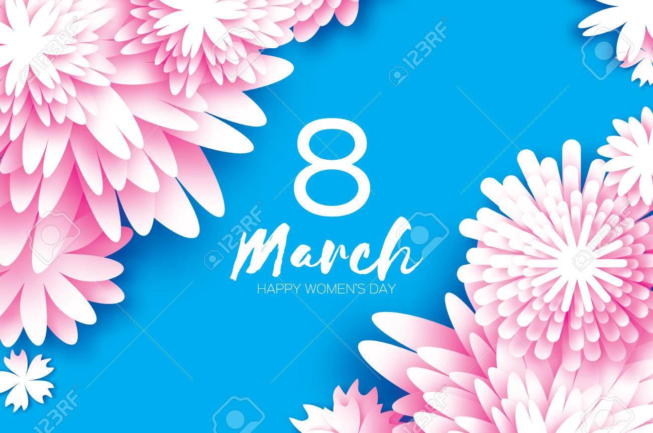 Rosa 8. März. Blumen Grußkarte. Alles Gute Zum Tag Der Frauen ...