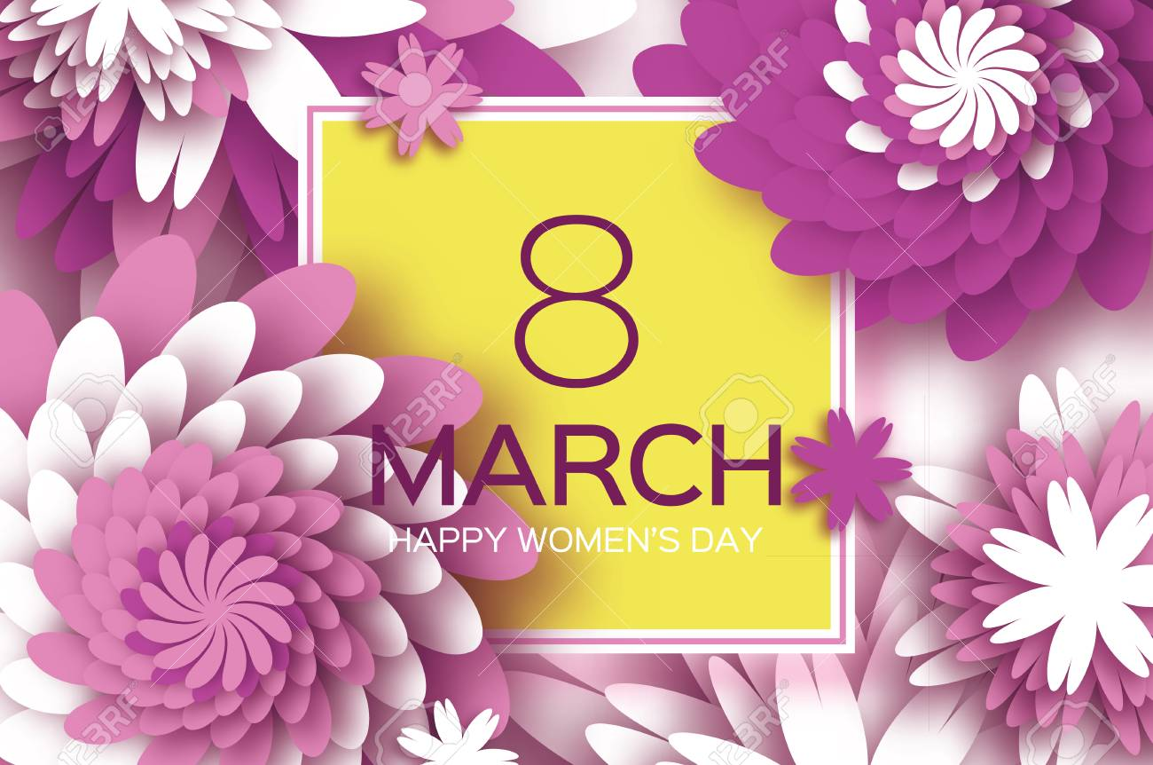 Muttertag . Lila Papierblume . 8. März . Quadratischer Rahmen ...