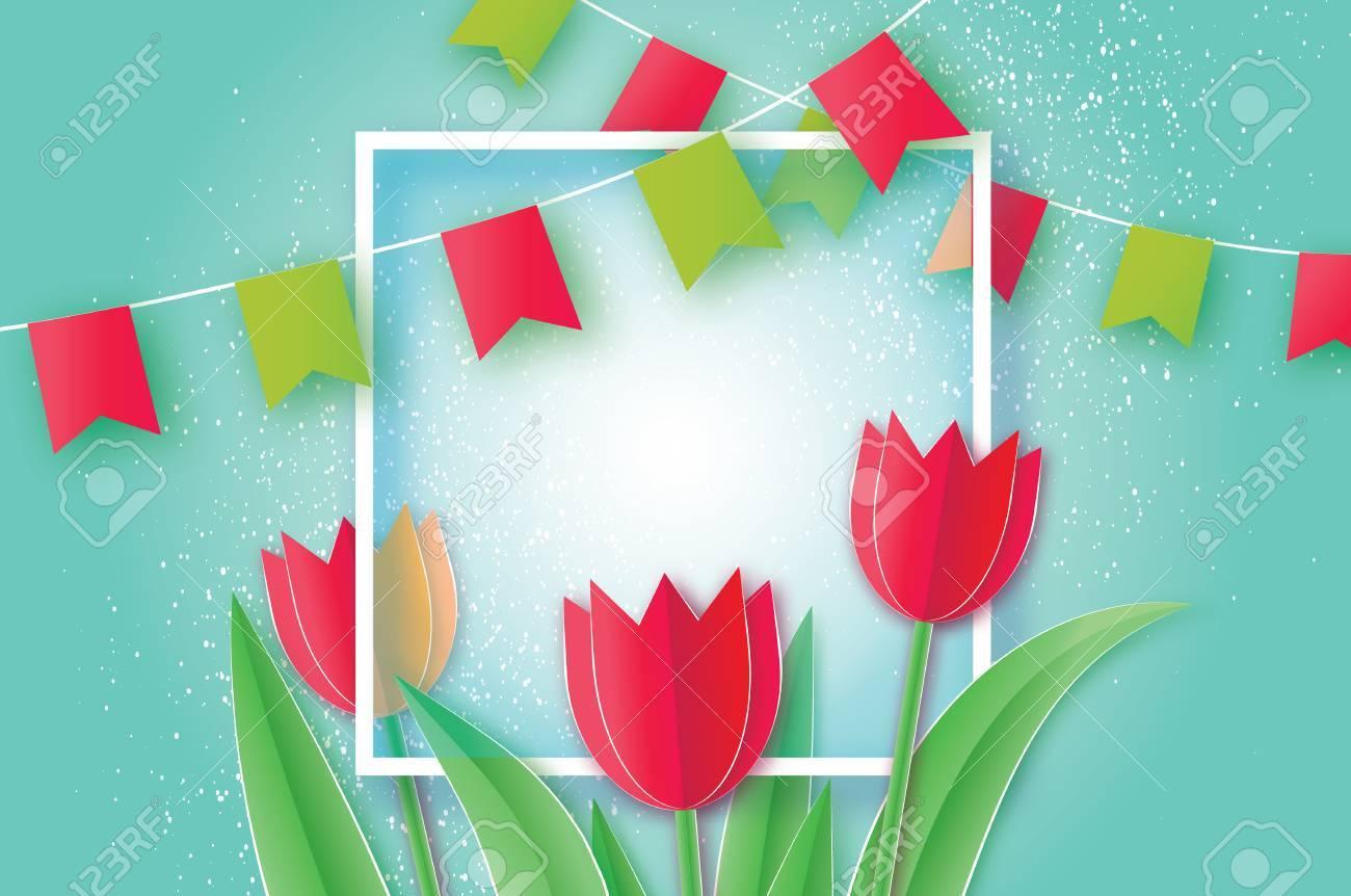 Rote Tulpen. Papierschnittblume. 8. März. Frauentag. Quadratische ...