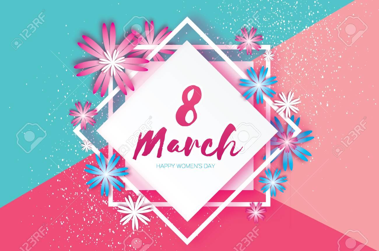 Muttertag. Rosa Blaue Papierblume. 8. März. Quadratischer ...