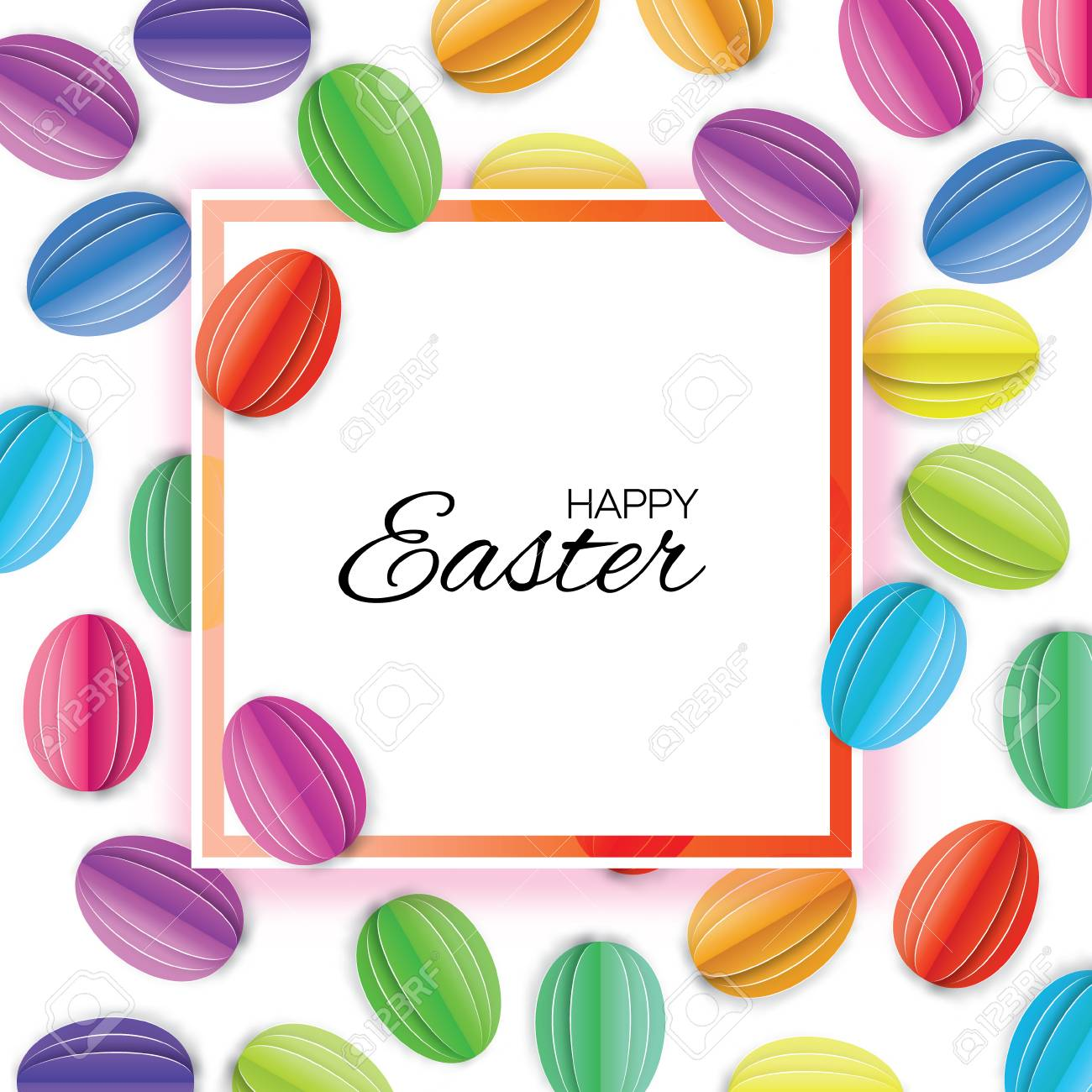 Origami Happy Easter. Colorful Paper Cut Easter Egg. Square Frame ...