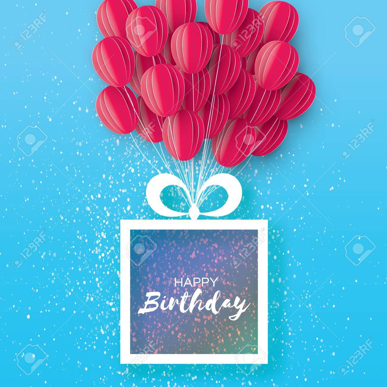 Pink flying paper cut balloons happy birthday greeting card happy birthday greeting card origami gift box space jeuxipadfo Image collections