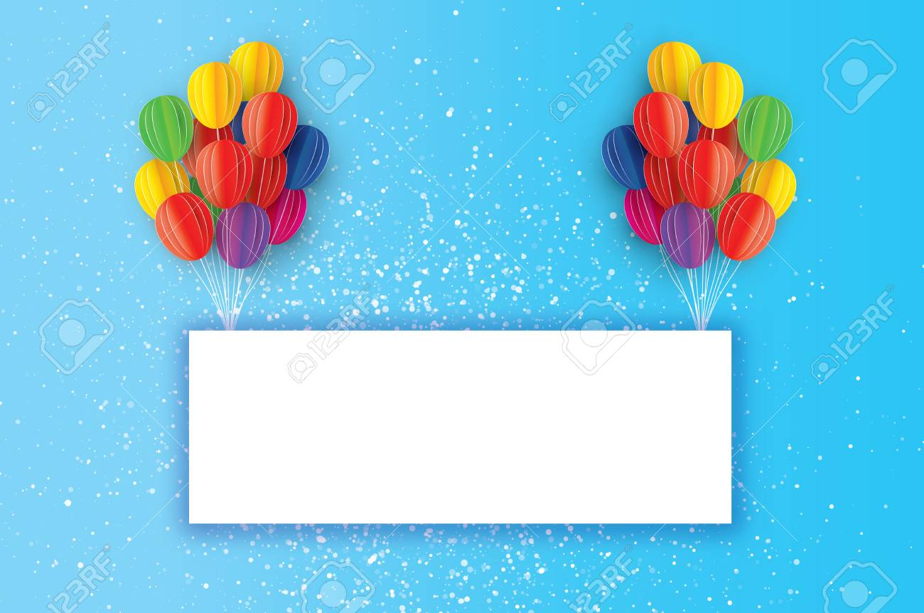 Colorful flying paper cut balloons happy birthday greeting card colorful flying paper cut balloons happy birthday greeting card origami rectangle frame space jeuxipadfo Image collections